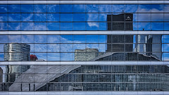 La Dfense (AO-photos) Tags: windows sky paris reflection building architecture clouds mirror sony reflet hdr ladfense cnit rx100