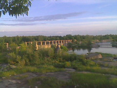 The Old Pinawa Dam (creditflats) Tags: canada water river concrete stream cloudy dam manitoba derelict pinawa partly