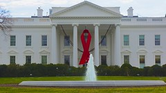 World AIDS Day - Red Ribbon on the White House Portico 33931
