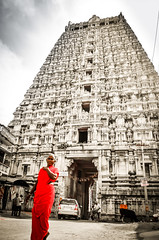 Temple Tower of Tirukkovilur (Srini GS) Tags: red woman india tower monument lady temple tamil