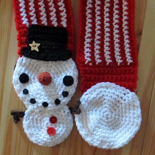 Snowman Scarf Pattern Snowman scarf crochet pattern