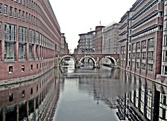 Hamburg Canal Reflection (zorro1945) Tags: bridge reflection brick germany deutschland canal europe hamburg arches hh kanal hafen warehouses offices redbrick hamburghafen