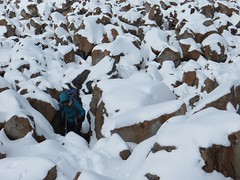 In the boulders at 5900m on El Condor