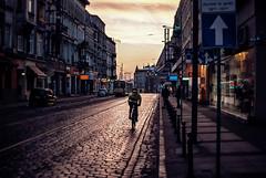 winter dawn (ewitsoe) Tags: street city winter sun signs cold cars bike bicycle sunrise 35mm dawn europe cityscape traffic tram poland pedestrian visit cobblestones stores poznan headeast nikond80 ewitsoe erikwitsoe