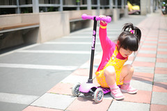 I'm not afraid of falling down. (Zorie Huang) Tags: morning pink light portrait baby cute girl yellow asian kid infant child innocent taiwan scooter snap nike 5d canon5d lovely glider taiwanese overall twoyearold streetsnap nikesneakers zorie