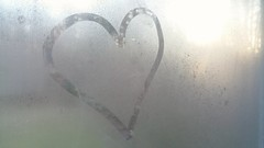 Transparent Heart (Angela D Beck) Tags: window pane heart drawing simple samsung cellphone photography sunlight