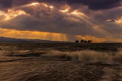 sunset 1596 (junjiaoyama) Tags: japan sunset sky light rays beams wave cloud weather landscape golden contrast colour bright lake island water nature winter