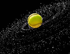 Center of the Universe (abso847) Tags: tennis ball universe center water high speed creative color flickr black yellow green