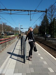 Capturing the good moments (~ Pura ~) Tags: station velp gld shadow catching moments sun girl waiting train zutphen