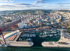 Drone Shot of Ponte 25 de Abril and Yacht Harbour
