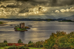 Castle Stalker Eventide (Osgoldcross Photography) Tags: loch castle water reflection cloud stone foliage rustic country trees mountains evening scotland ecosse alba catlestalker nikon nikond600 raw