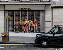 London       Chanel (JB_1984) Tags: chanel store shop boutique designer rubbish recycling taxi blackcab blacktaxi cab newbondstreet mayfair cityofwestminster london england uk unitedkingdom