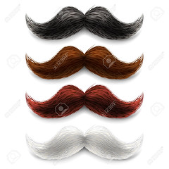 Fake moustaches color set (yagonoya) Tags: moustaches mustaches fake man old fashion style hair upper lip long groomed trimmed wax color decoration element icon picture item collection set artificial design barbershop accessories carnival party image play costume attribute symbol macho white chestnut blond dark brown upward curled abstract vector illustration