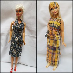two Barbies one dress (Belladona Blythe and Friends) Tags: barbie vintagepattern handmadeclothes