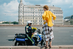 Moscow, Russia 2016 (f.d. walker) Tags: europe russia moscow easterneurope man men woman women lady couple romance romantic police policeman flowers flower bouquet motorbike motorcycle candidphotography candid color clothes colorphotography contrast colors city streetphotography street sunlight strange funny