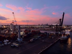 Port Everglades (PelicanPete) Tags: porteverglades skyline busycruiseportmecca fortlauderdaleflorida stage concert music people musician fun performer professionals legends classicrock rocklegendscruisev january19th23rd2017 fifthannual rockcruise independenceoftheseas benefitnativeamericans royalcaribbeancruiseline vehicle ship outdoor waterfront water boat intracoastalwaterway sunsetsailaway dusk downtownfortlauderdale