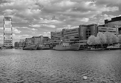 IR Docklands 15th April 2017 (17 of 24) (johnlinford) Tags: a433 auxiliary blackandwhite canarywharf canon40d canonefs1022 emlwambola greyscale hdr hnlmsschiedam hnomshinnøy infrared infraredlandscape infraredlondon london londondocklands m343 m860 minesweeper nato poplar snmcmg1 ship standardnatominecountermeasuregroup1 towerhamlets standingnatominecountermeasuregroup1