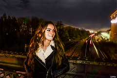 Midnight Sun. (Ludovic Mühlhauser) Tags: girl woman wife female portrait night urbex train rail rails color colors smile joy joyce happy beauty gorgeous nice love friend friendship hair sky dark bridge light lights troyes aube champagne europe france world earth planet canon canoneos70d