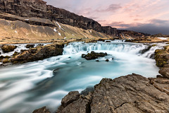 Babbling Brook (MRC Imagery) Tags: water creek brook waterfall mountains mountainside sunset rocks rock colour longexposure 1635mm 5dmk3 iceland clouds cloud cloudy snow ridge outdoor adventure