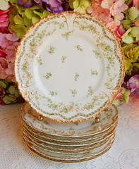 Antique Haviland Limoges Porcelain Luncheon Plates ~ Flowers ~ Gold Encrusted (Donna's Collectables) Tags: antique haviland limoges porcelain luncheon plates ~ flowers gold encrusted