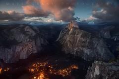 Yosemite Valley at Nightfall (Matt Grans Photography) Tags: yosemite valley halfdome ynp clouds glow dusk sunset twilight nature stars