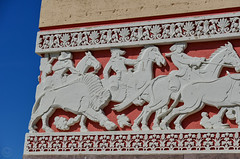 progression (Brinkervelt.) Tags: red blue white sculpture relief horses buffalo deco colorful restored