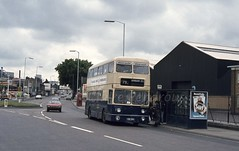 WMPTE 4029, Bilston Road, Wolverhampton, 1981 (Lady Wulfrun) Tags: yox29k 4029 westbromwich wolverhampton bilstonroad ettingshall bilston 79 steelways steelway 1980s 1981 fordcapri total petrol station ncme alpha six