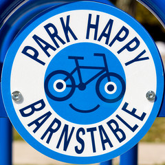 Park Happy Barbstable (Timothy Valentine) Tags: 2017 large sign 0417 squaredcircle bicyclerack barnstable massachusetts unitedstates us