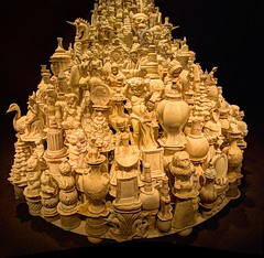 white porcelain stack (JoelDeluxe) Tags: smithsonian sackler gallery waltermcconnell monumental porcelain sculptures ceramics vessels unsustainable luxury materialism conspicuous consumption white bronze pottery stacks washington dc mall museum joeldeluxe