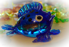 Glazed and glazing (babs van beieren) Tags: blue fish souvenir bluefish glazedfish glass coloredglass macromonday glaze