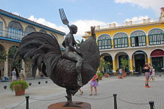 Plaza Vieja Sculpture, Havana Cuba (Lark Ascending) Tags: cock cockerel rooster spurs fork woman bald naked nude plazavieja lahabana havana cuba bronze sculpture bizarre art contemporary ride riding