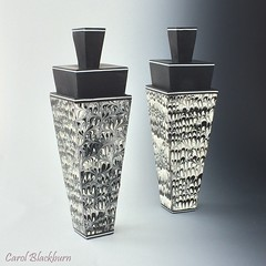 Perfume Purses - Feathered design (Carol Blackburn - London) Tags: polymer blackwhite liquid feathering atomiser perfume purses