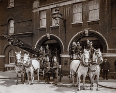 Kennington Lane Fire Station - LFB/Metropolitan (Cozy61) Tags: ©mpp fire horses ladders escape carriage building 19th century glass negative fireman firemen metropolitan brigade horse drawn london 20th brick sepia monochrome killed deaths 1918 albert embankment