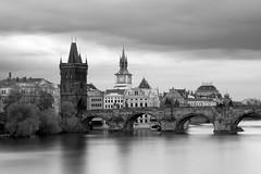Charles Bridge, Prague (Ondrej V.) Tags: charlesbridge prague praha prag vltava bridge river longexposure bigstopper blackandwhite bw monochrome outdoor city town cityscape czechrepublic czechia vle