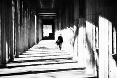 relaxed (www.streetphotography-berlin.com) Tags: colonnade column arcade lustgarten berlin man alone sunny day sunlight light shadow walking street streetphotography streetlife blackandwhite blackwhite impressionist impressionism
