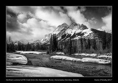 Northern summit of Mt. Kidd from the Kananaskis River, Kananaskis Country, Alberta (kgogrady) Tags: kananaskiscountry kananaskisriver landscape mtkidd spring alberta canada snow xt2 xf18135mmf3556oiswr trees water westerncanada canadianlandscapes canadianrockies acros canadianmountains bw albertariver cans2s albertalandscapes canadianrockieslanscape blackwhite ab 2017 blackandwhite clouds morning mountkidd mountains nopeople fujifilm noone kananaskis fujifilmxt2 fujinon picturesofalberta provincialpark photosofalberta