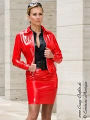 Monique Montiniere in red vinyl skirtsuit (PVC Fashion) Tags: monique montiniere shiny sexy red pvc vinyl plastic skirtsuit skirt jacket fashion clothing beauty model women rot lack lackjacke lackrock jacke rock