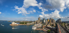 Sydney, Australia (Anthony's Olympus Adventures) Tags: sydney nsw australia city cityscape downtown cbd photo photogenic sydneyoperahouse circularquay panorama panoramic pano stunning wow beautiful amazing view lookout bridge sydneyharbourbridge harbour water sky afternoon pylon