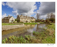 Lower Slaughter in Cotswolds (Karl Snell) Tags: cotswolds slaughter lower landscape blue clouds stone buildings bridge traditional picturesque wall travel trip weekend green postcard warm stream fun canon 5d mkii 1635 f4l