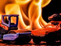 Mattel Hell (marcy0414) Tags: mattel matchbox car toy truck fire macro blue orange orangeandblue macromonday macromondays matchboxcar yepyep