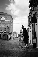 Whatever happened to Tiny Tim? (Richard Reader (luciferscage)) Tags: fujix100f rochester dickens cafe tinytim street monochrome bnw blackwhite bw portrait junction low achristmascarol