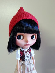 Looking cute in her gnome hat