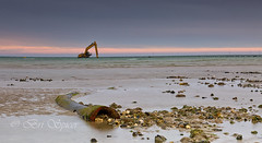 The stranding (Through Bri`s Lens) Tags: sussex worthing mobydig lowtide digger pipeline sky brianspicer canon5dmk3 canon24105f4l