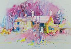 Cottages at Mitton Lancs (patsouthern-pearce/Skyeshell) Tags: cottages mitton village watercolour expressive mixedmedia lancashire buildings trees free colour wetonwet