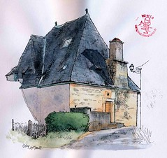 Coly, toiture fantaisie verso (Cat Gout) Tags: dordogne périgord toiture maison coly sketch village