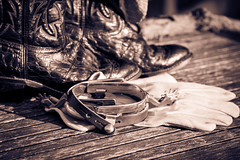 Finding My Inner Cowboy 4 (jah32) Tags: monochromatic monochrome cowboy gloves spurs sepia cowboyboots western