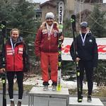 Whistler Spring Series U19 GS Podium - Kristina Natalenko 1st; Frances MacDonald 2nd; Ella Renzoni 3rd