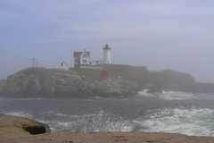 4-L3181528 (LarryJ47) Tags: leica leicax1 fog lighthouse island water ocean waves splashing foam tides