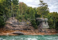 The Lucky Tree of Chapel Rock at Pictured Rocks (PhotosToArtByMike) Tags: chapelrock luckytreeofchapelrock picturedrocksnationallakeshore michigan mi picturedrocks pinetree luckytree upperpeninsulaofmichigan upperpeninsula up sandstonecliffs uppermichigan lakesuperior munising autumn autumnleaves rockycoastline