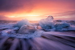 Jokulsarlon sunrise (Iván F.) Tags: landscape landscapes travel tourism sea seascape jokulsarlon nature ice glacier sunrise amanecer viajar islandia iceland long exposure wave beach colourful water explore explorer